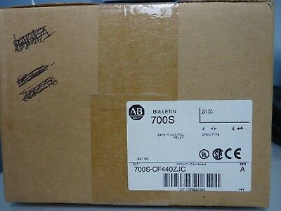 New Allen Bradley 700S-CF440ZJC Safety Control Relay 24 VDC Factory Sealed NIB