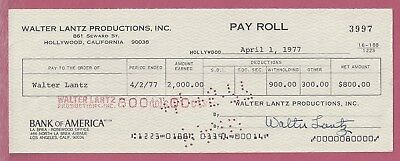 WOODY WOODPECKER, Walter Lantz SIGNED Payroll / Salary CHECK payable to himself