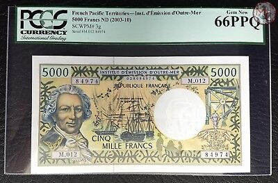 French Pacific Territories-5.000 Francs ND 2003-  UNC- PCGS 66 PPQ- TOP QUALITY