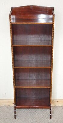 Edwardian Small & Narrow Mahogany Inlay Open Bookcase, nationwide delivery
