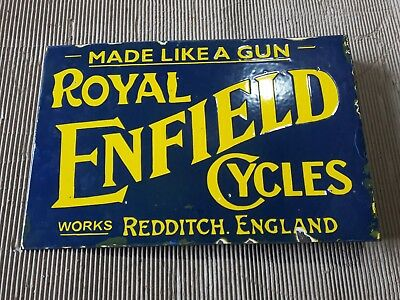 """Porcelain ROYAL ENFIELD Sign SIZE 18"""" X 12"""" INCHES with flange Pre-Owned"""