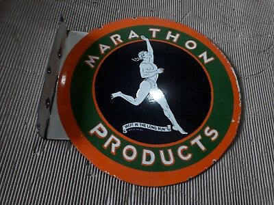 """Porcelain MARATHON PRODUCTS Enamel Sign SIZE 16"""" ROUND With Flange Pre-Owned"""
