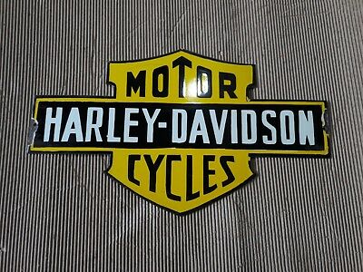 """Porcelain HARLEY DAVIDSON logo Sign SIZE 13.5"""" X 23.5"""" INCHES Pre-Owned"""
