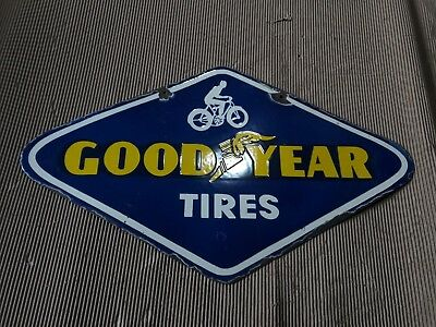 Old vintage PORCELAIN GOODYEAR TIRES enamel sign 10 X 18 Pre-Owned Pre-Owned