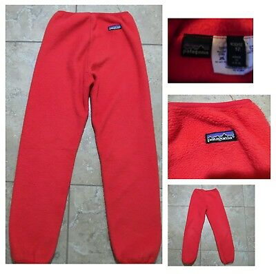 VTG PATAGONIA KIDS FLEECE PANTS 65587 Red Pull-On Made in USA  Size 12