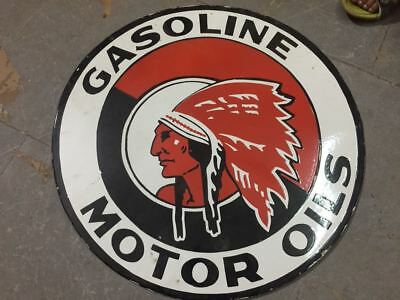 """Porcelain Red Indian Motor Oil Sign SIZE 24"""" INCHES 2 SIDED Pre-Owned"""