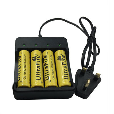 4X 18650 Batteries 9800mAh 3.7V Li-ion Rechargeable Battery + 4.2V UK Charger