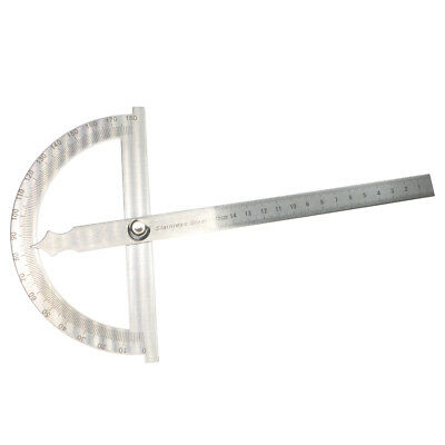 Stainless Steel 180 Deg Protractor Angle Finder Rotary Measuring Ruler 15cm