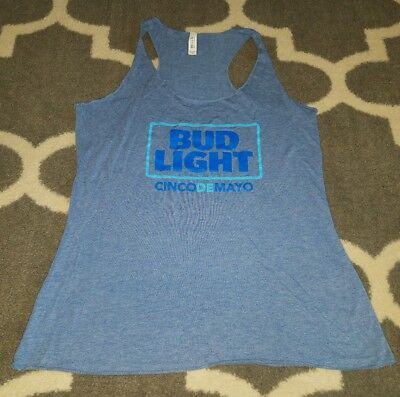 Bud Light Cinco De Mayo Basic Logo Women's Racer Back Tank Top Blue Bella Medium