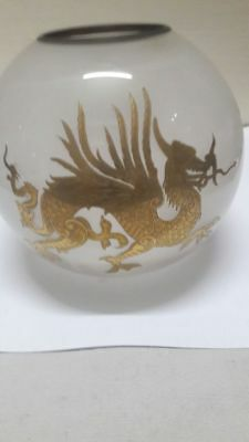 Rare Antique Miniature French Chinese Dragon Gold Leaf  Oil Lamp Shade