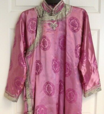 Antique Early 1900's Chinese Silk Kimono Robe Asian Pink Gold