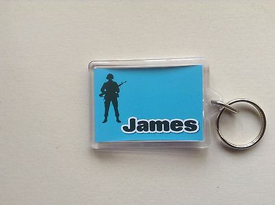 Personalised Keyring/ Bag ID  - Soldier Silhouette  Design
