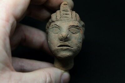Rare Ancient Egyptian Ptolemaic Terracotta Pharaoh Head C300/350 BC
