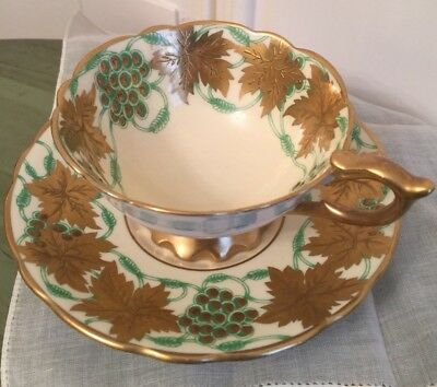 Green & Gold Grapes ROYAL STAFFORD Footed Teacup And Saucer Set La Vigne D'or