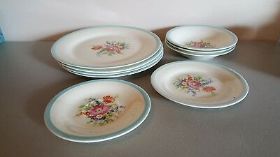 1930's Edwin M Knowles China - Flowers - 9 pieces