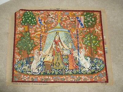 FAB!  large hand-stitched completed wool tapestry Lady & The Unicorn Royal Paris