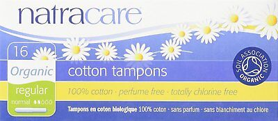 NATRACARE Organic Regular Tampons with Applicator ,16 Count (Pack of 3)