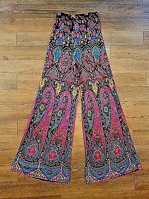 Vtg 1960s 70s - Mint Condition - Vibrant Paisley Flare Bell Bottom Palazzo Pants
