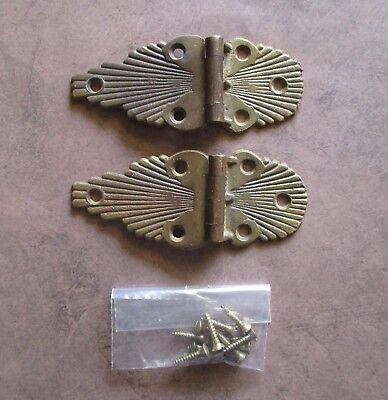Pair of Vintage 5 inch offset ornate brass hinges