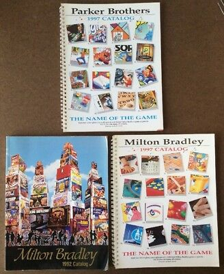 Lot of 3 Milton Bradley, Parker Brothers Game Catalogs 1992, 1997