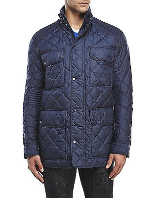 NWT Marc New York by Andrew Marc Mens Quilted Long Jacket Navy Hidden Hood XL