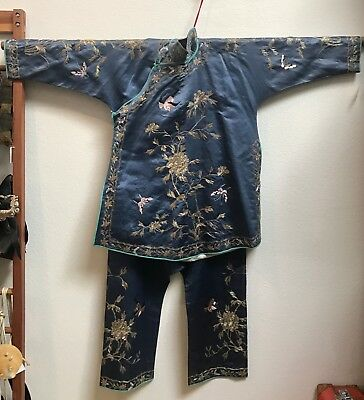 Antique Chinese Silk Robe and Pants Silk Set