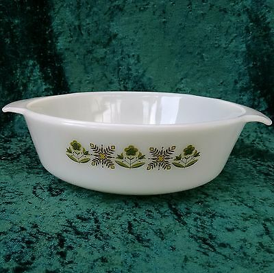 Vintage Anchor Hocking Fire King Meadow Green 1 1/2 Quart Casserole 70s Glass
