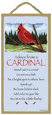 Advice from a Cardinal Inspirational Wood Bird Nature Sign Plaque Made in USA