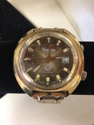 Vintage Wakmann Watch. Date. Alarm. Manual. 17 Jewels. Incabloc. Swiss Made.