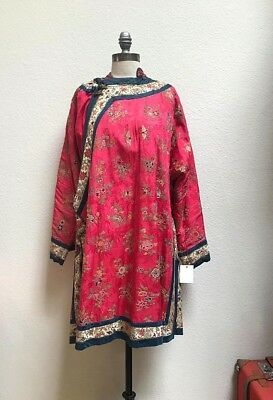 Antique Chinese Rare Flowers, Birds, Fish, and Creatures Embroidered Pink Robe