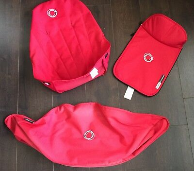 Bugaboo cameleon red canvas fabric set Hood, apron and seat cover
