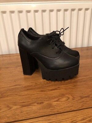Shoes Leather Black Gothic Hallyu Lace Up Steampunk Platforms K grqwUgafn