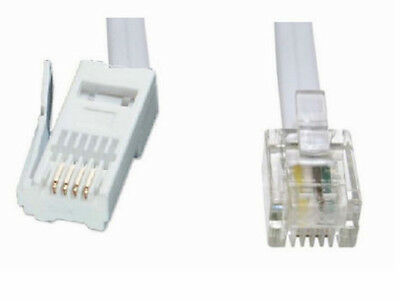 RJ11 to BT Cable Lead   Modem FAX Telephone Phone 4 Pin Straight  2.0726m