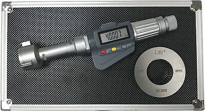 "3-Point Internal Micrometer Hole Bore Gauge Gage, 1.2-1.6"" / 0.00005""(0.001mm)"
