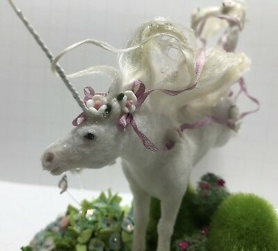 Breyer Stablemate OOAK Flocked Unicorn Custom pose Ribbons n Roses the wind CMC