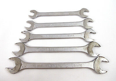 Herbrand 10mm to 19mm 5 Piece Metric Open End Wrench Set VTG