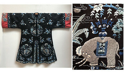 Antique Chinese Rare Elephant Embroidered Silk Robe