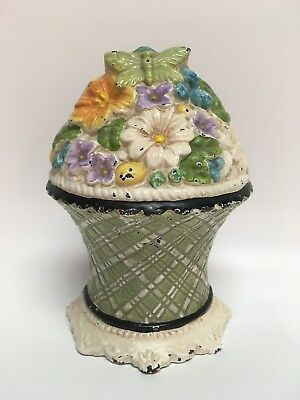 Shabby Chic Distressed Floral Cast Iron Door Stop Pastels Butterfly