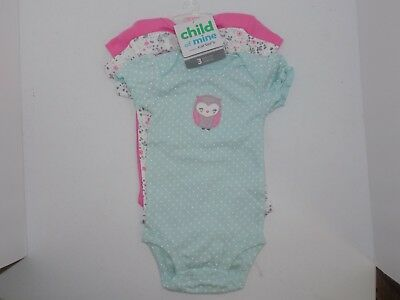 0802a34375b7 NWT CHILD OF Mine by Carters Baby Girls Bodysuit Outfit 3-Piece, Owl Design  0-3m