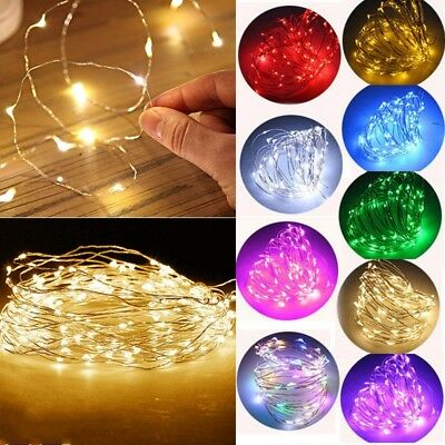 20 30 50 100 LED String Fairy Lights Copper Wire Battery Powered Waterproof DIY