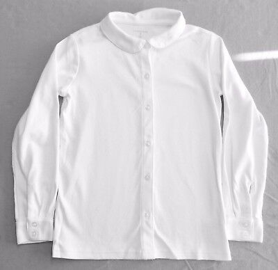 Girls Small White LS  Btn Frt Knit Peter Pan Collar shirt Lands' End Uniform