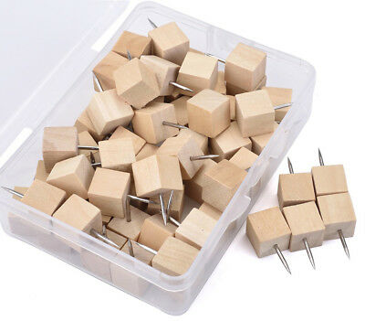 60 Pcs Novelty Square Cube Style Wood Head Push Pins