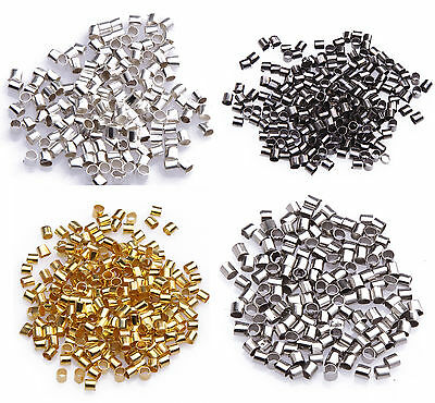 500/1000 Pcs Metal Crimps Stopper Beads - Silver / Gold / Bronze / Black Plated