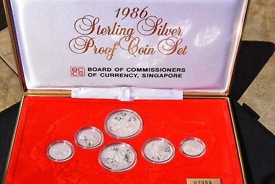 1986 Singapore 6 Coin Sterling Silver Proof Set, Outer Case, Inner Case, COA