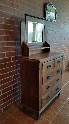 Dresser - Vintage Antique Chest of Drawers with Mirror - Original Classic