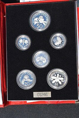 1989 Singapore 6 Coin Sterling Silver Proof Set, Outer Case, Inner Case, COA