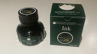 MONTEVERDE FOUNTAIN PEN INK 90ml 3oz MIDNIGHT BLACK G308MB