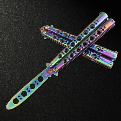 Rainbow Practice BALISONG METAL BUTTERFLY Steel Trainer Dull Knife Tool GO
