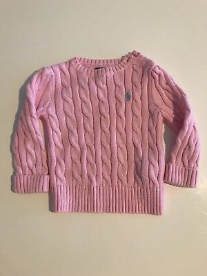 Ralph Lauren Baby Girls Cable Knit Cardigan Size 12 Months Pink