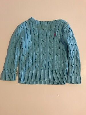 Ralph Lauren Baby Girls Cable Knit Cardigan Size 12 Months Blue